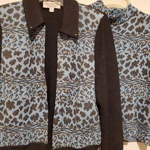 St. John Animal  Print Sweater Tank NEW Suit sz. M
